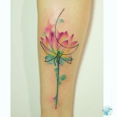 flower tattoo on foream watercolor style