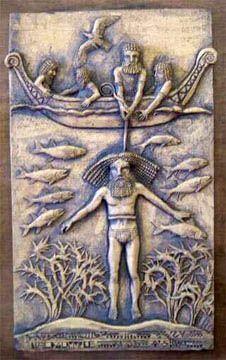 Ut'napishtim, o Noé da Suméria, resgata Gilgamesh do meio dos oceanos durante o Dilúvio provocado pelos Anunnaki.