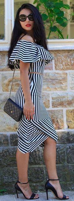 #spring #fashion | Black And White Off Shoulder Cocktail Dress |Duygu Senyurek