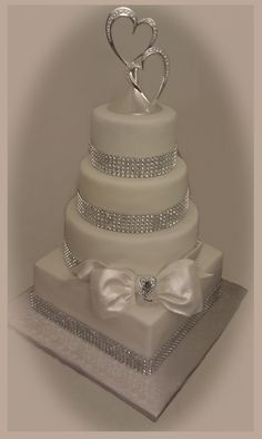 wedding cakes silver Wedding cake - without the bow amp; Bling Wedding Cakes, Bling Cakes, Bow Cakes, Square Wedding Cakes, Cool Wedding Cakes, Elegant Wedding Cakes, Beautiful Wedding Cakes, Gorgeous Cakes, Wedding Cake Designs