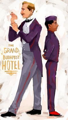 M. Gustave H and Zero. Illustrated by QuiteBubbly of Deviantart. The Grand Budapest Hotel. Wes Anderson