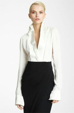 White Blouse With Black