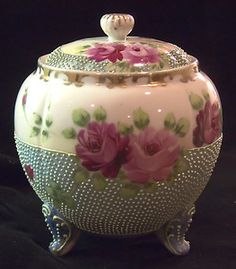 ANTIQUE NIPPON FOOTED MORIAGE BEADED WARE HAND PAINTED ROSES BISCUIT CRACKER JAR