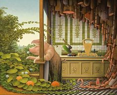 Jacek Yerka.  Not sure where exactly all that bacon comes from.  A porcine Hannibal Lector?