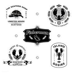 Seafood restaurant vintage logos vector set | premium image by rawpixel.com / Kappy Kappy / taus