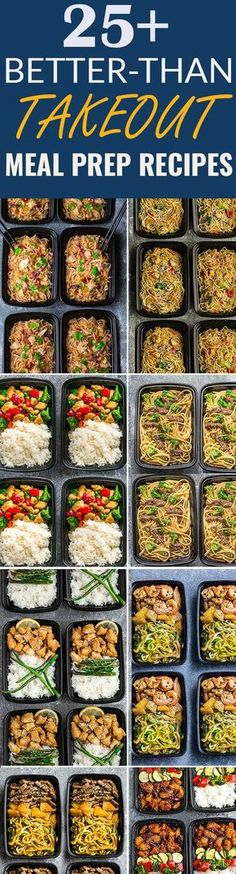 More than 25 of the most popular Asian Takeout favorites made Healthier and into Meal Prep Recipes. Including Chicken Chow Mein, Fried Rice, Chicken and Beef Lo Mein, Cashew Chicken Chicken Pad Thai, Shrimp Teriyaki Zoodles, Beef Teriyaki Zoodles, Honey L http://eatdojo.com/easy-healthy-recipes-meals-breakfast-lunch-dinner/