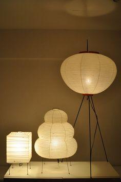 design japonais : Akari lampes XP1, 24N et 10A, Isamu Noguchi, papier…