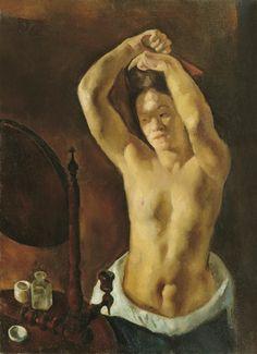 Stephen Szony - femme se peignant, 1921, huile sur toile, 99,5x73 cm