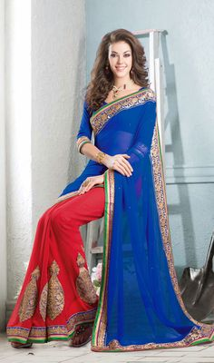Blue and Red Chiffon Georgette Half N Half Saree Price:Usa dollar $104 , British UK Pound £62, Euro77 , Canada CA $113 , Indian Rs 5616.