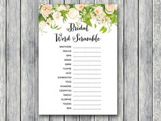 Bridal Word Scramble Bridal Shower Game Unscramble by BrideandBows
