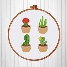 4 patterns of cactus make an adorable hoop art or can be stitched individually and applied in other decoration projects. Find more cute cactus cross stitch pattern in our website to complete your collection.  PATTERN SPECIFICATIONS: Stitches: full cross stitch Colors: DMC stranded cotton Required Colors: 12 Stitch size: 69 x 93  SUGGESTION: Fabric: 14 count Aida Strands: 2 Designed area: 4.93 x 6.64 inches or 12.5 x 16.7 cm  This PDF pattern contains: - Cover - Floss Palette - Color Symbol…