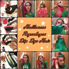 DIY Halloween Hairstyles Rainbow dyed ombre hair with clip in hair extensions