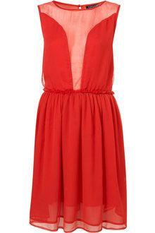 Topshop red mesh panel dress