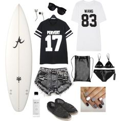 """3blacksheep9surfergal"" by blacksheep39 on Polyvore #bikini #beach #surfer #outfit #blackandwhite #espadrille"