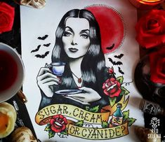 Original painting Not a print Morticia Addams Tattoo от RedSelena