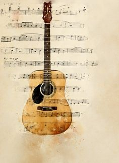 Guitar Wall Art, Guitar Painting, Guitar Drawing, Music Wall Art, Watercolor Print, Watercolor Paintings, Guitar Posters, Sheet Music Art, Music Drawings