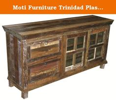 Moti Furniture Trinidad Plasma TV Stand with 2 Drawers and 2 Doors. The Rainforest collection is created using recycled solid wood salvaged from various sources, including old buildings. The beautiful colorations of recycled wood found in this collection make it a stunning addition to any room. Each piece has been kiln-dried and then skilled craftsmen hand applied a coat of high quality wax to maintain its beauty for years to come.