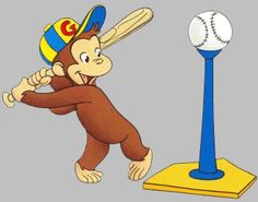 Curious George wall decal baseball