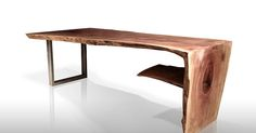 Custom made reclaimed wood furniture made from fallen trees around new york, industrial drift wood and steel pipes by designer and artist Paul Kruger.