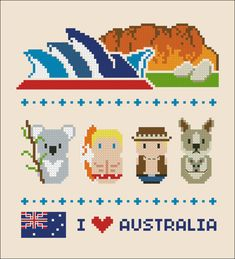 Australia icons - Mini people around the world - PDF cross stich pattern Mini Cross Stitch, Beaded Cross Stitch, Crochet Cross, Cross Stitch Embroidery, Embroidery Patterns, Cross Stitch Patterns, Pixel Art, Totoro, Stitch Crochet
