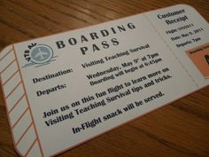 I love the idea of a Relief Society airplane activity and there are so many ways you can go with it. I love the set up of this one and the boarding pass.