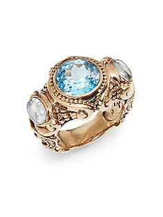 Three-Stone Scroll Ring
