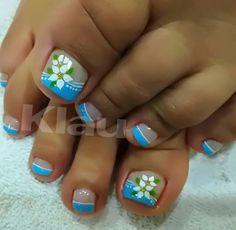 Pedicure Designs, Pedicure Nail Art, Toe Nail Designs, Toe Nail Art, Acrylic Nail Designs, Cute Toe Nails, Nail Art Designs Videos, Floral Nail Art, Painted Toes