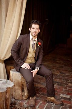 Wouldn't your groom look amazing in these earthy brown tones!