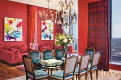 Red Eclectic Dining Room