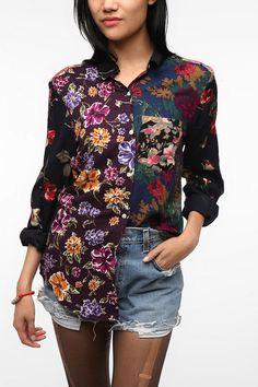 Urban Renewal Pieced Printed Boyfriend Shirt Online Only