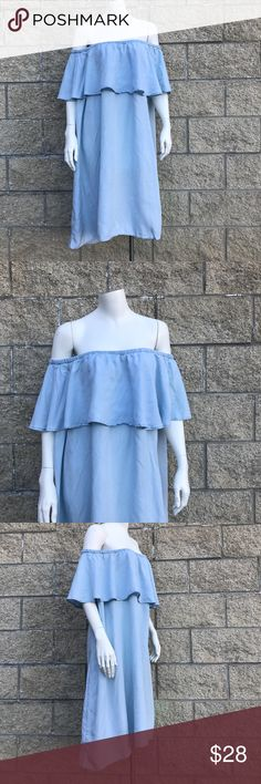 Old Navy Off The Shoulder Plus Size Dress *Flounce. Off The Shoulder  *Baby blue, knee length *100% Lyocell *Plus Size XXL Old Navy Dresses Midi