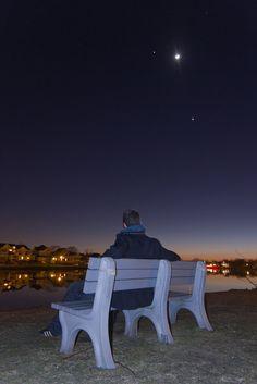 Skywatcher Jack Fusco enjoyed viewing Jupiter, the moon and Venus while sitting on a bench in Bradley Beach, NJ, near Sylvan Lake