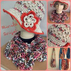 crocheted summer hat, bag and a triangle scarf