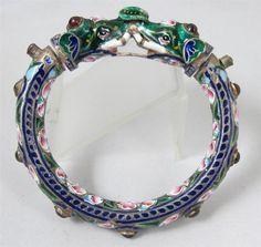 Antique-Silver-Meenakari-Enamel-Elephant-Moghal-Moghul-Bracelet-Kundan $342