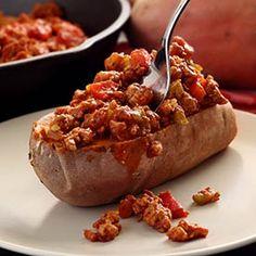 Auch sehr lecker... Aber eine Süßkartoffel auszuhöhlen und zu füllen ist echt eine kunst für sich
