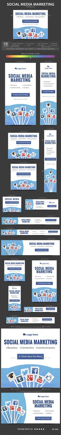 Social Media Web Banners Template PSD. Download here: http://graphicriver.net/item/social-media-banners/14830517?ref=ksioks