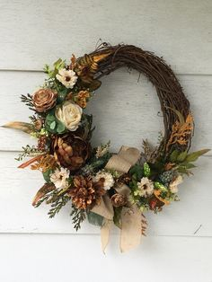 Fall is in the air! This beautiful neutral wreath is ready to start the season! Visit Etsy for more details Wreaths For Front Door, Door Wreaths, Christmas Plants, Hairstyle, Diy Crafts, Decorations, Seasons, Halloween, Fall