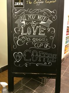 Coffee Lover Gift - All You Need Is Love And Coffee - Kitchen Art - Chalkboard Art - Kitchen Print - Chalk Art - Coffee Chalkboard - Handlettering - I Love Coffee, Coffee Art, Coffee Cups, Coffee Shop, Coffee Beans, Black Coffee, Coffee Time, Coffee Drinks, Coffee Creamer
