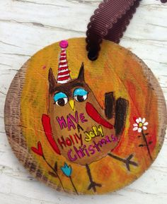 Jolly Owl Hand painted Christmas ornament  on Etsy, $22.00