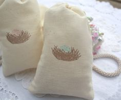 Muslin Favor Bags - Baby Shower - Birthday - Favors - Bird Nest - Pink Eggs - Baby Girl on Etsy, $12.50