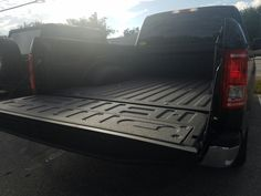 Spraying Truckbeds with Line-X protective coating black. #LineXIt #TruckBeds