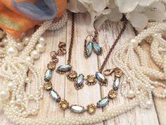 URBAN AUTUMN,SWAROVSKI necklace, vintage look, copper setting, vintage stones, fall colors, halo crystal, stunning, dksjewelrydesigns