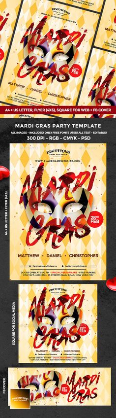 Mardi Gras Carnival — Photoshop PSD #mask #club • Download ➝ https://graphicriver.net/item/mardi-gras-flyer/19292870?ref=pxcr