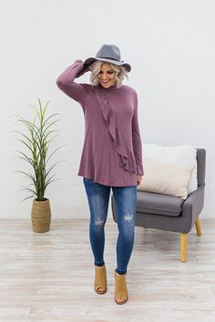 Jade Ruffle Detail Top in Orchid