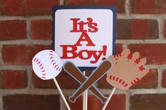 It's A Boy Baseball Baby Shower Centerpiece by KellyKrockerKreates, $15.00