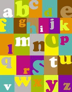 Crazy ABC's alphabet colorful squares 11x14 art by westeightythird, $15.00