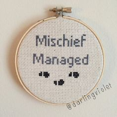 Harry Potter Mischief Managed Cross Stitch by DarlingVioletStitch