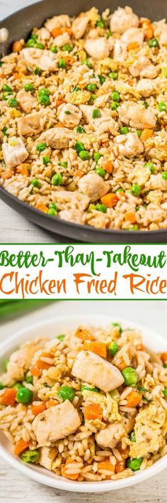 Easy Better-Than-Takeout Chicken Fried Rice - Averie Cooks - One-skillet, ready in 20 minutes, and you'll never want takeout again after tasting how good homemade is! Way more flavor, not greasy, and loads of juicy chicken! Comida Filipina, Asian Recipes, Healthy Recipes, Chinese Recipes, Good Recipes, Easy Korean Recipes, Chinese Food, One Pot Meals, Easy Meals To Cook