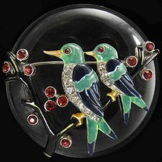 Trifari 'Alfred Philippe' Pair of Love Birds on Branch in front of Jelly Belly Moon Pin