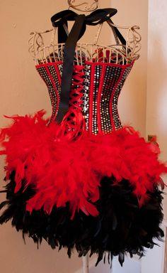 DIVA Burlesque Costume Corset red black sequins by olgaitaly Burlesque Halloween Costumes, Corset Costumes, Circus Costume, Black Costume, Costume Dress, Burlesque Theme Party, Burlesque Outfit, Burlesque Corset, Vintage Burlesque